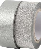 Decoratie tape zilver met glitters 2 rollen