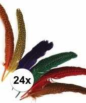 Decoratie veren met stippen 24 stuks