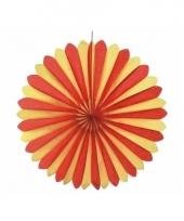 Decoratie waaiers rood geel 60 cm