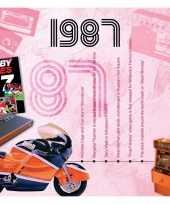 Dertigste verjaardag kaart met hits uit 1987