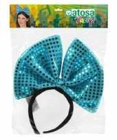 Diadeem grote blauwe strik met pailletten voor dames