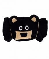 Dieren knuffeldeken beer zwart 100 x 130 cm