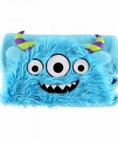 Dieren knuffeldeken monster blauw 100 x 130 cm