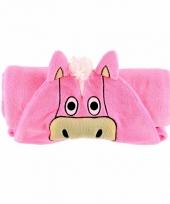 Dieren knuffeldeken paard roze 100 x 130 cm