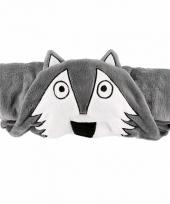Dieren knuffeldeken wolf grijs 100 x 130 cm