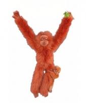 Dieren knuffels oran oetan met jong 44 cm