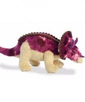 Dieren knuffels paarse dino triceratops 33 cm