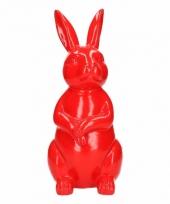 Dierenbeeld haas konijn rood 30 cm