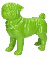 Dierenbeeld mopshond groen 30 cm
