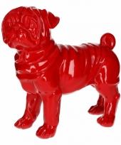 Dierenbeeld mopshond rood 30 cm
