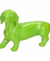 Dierenbeeld teckel statue hond groen 29 cm