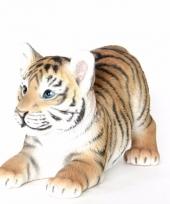 Dierenbeeldje tijger liggend 18 cm