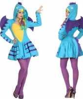 Dierenpak blauwe draak verkleed kostuum jurk voor dames