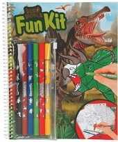 Dino kleur en speelboek met stiften en stickers