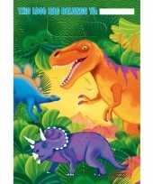 Dino themafeest zakjes 16 stuks van plastic