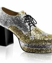 Disco heren schoenen zilver met goud