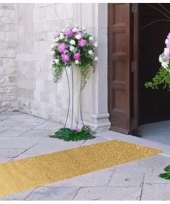 Discothema gouden glitter loper 10m lang bij 1m breed
