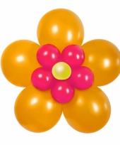 Doe het zelf ballon set bloem oranje roze