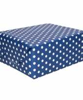 Donkerblauw inpakpapier met witte stippen 200 cm