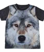 Donkergrijs t-shirt met wolf voor kinderen