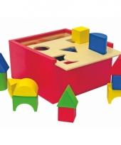Doos met 20 houten speel blokken