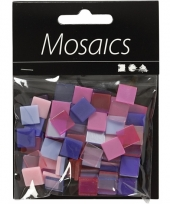 Doos met paars roze mozaiek stenen 10x10 mm