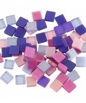 Doos met paars roze mozaiek stenen 5x5 mm
