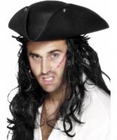 Driehoekige zwarte piraten hoed