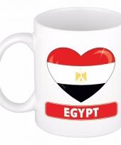 Egyptische vlag hartje koffiemok 300 ml