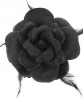 Elastiek speld glitterbloem zwart