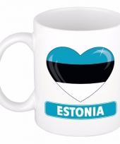 Estlandse vlag hartje koffiemok 300 ml