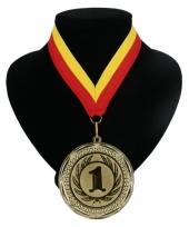 Fan medaille nr 1 lint rood en geel