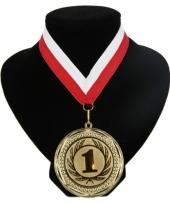Fan medaille nr 1 lint rood en wit