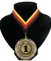 Fan medaille nr 1 lint rood geel zwart