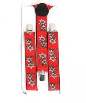 Feest bretels rood met edelweiss bloem