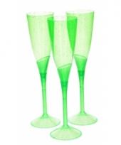 Feest champagneglazen groen plastic 3 stuks