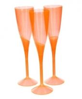 Feest champagneglazen oranje plastic 3 stuks