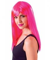 Feest damespruik neon roze met pony