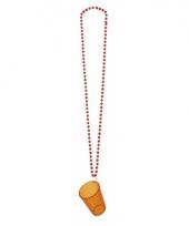 Feest ketting met shotglaasje oranje