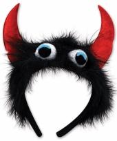 Feest monster diadeem zwart rood