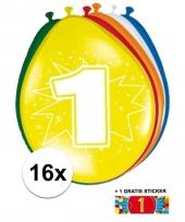 Feestartikelen 1 jaar ballonnen 16x sticker