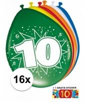 Feestartikelen 10 jaar ballonnen 16x sticker