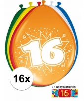 Feestartikelen 16 jaar ballonnen 16x sticker