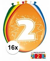 Feestartikelen 2 jaar ballonnen 16x sticker