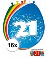 Feestartikelen 21 jaar ballonnen 16x sticker