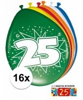 Feestartikelen 25 jaar ballonnen 16x sticker