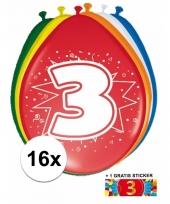 Feestartikelen 3 jaar ballonnen 16x sticker