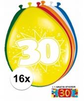 Feestartikelen 30 jaar ballonnen 16x sticker