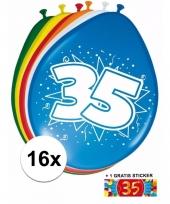 Feestartikelen 35 jaar ballonnen 16x sticker