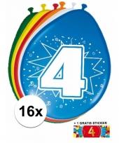 Feestartikelen 4 jaar ballonnen 16x sticker
